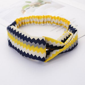 Girls Cross Wide Elastic Casual Striped Headband - Blue Yellow