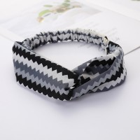 Girls Cross Wide Elastic Casual Striped Headband - Black Grey