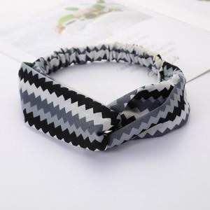Girls Cross Wide Elastic Casual Striped Headband - Black Grey