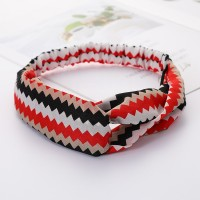 Girls Cross Wide Elastic Casual Striped Headband - Black Red