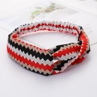 Girls Cross Wide Elastic Casual Striped Headband - Black Red