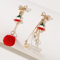 Tassel Gold Plated Bohemian Fancy Wear Earrings Pair - Red