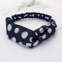 Girls Cross Wide Elastic Casual Smile Headband - Navy Blue