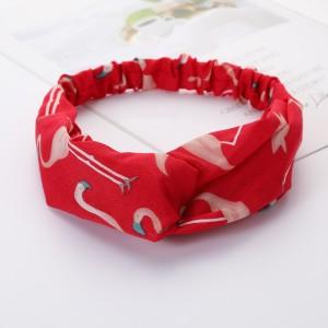 Girls Cross Wide Elastic Casual Flamingo Headband - Red