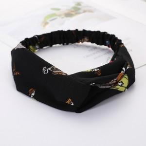 Girls Cross Wide Elastic Casual Headband - Black