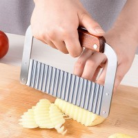 Stainless Steel Potato Slicer French Fries Wood Handle Vegetable Peeler Fruit Cutter