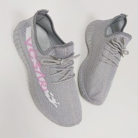Rubber Sole Mesh Pattern Sports Wear Sneakers - Gray