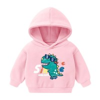 Cartoon Printed Full Sleeves Winter Hoodie Top - Pink