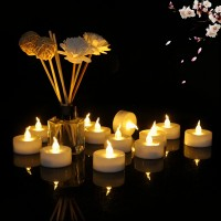 12 Pcs Romantic Led Smokeless Flameless Electric Candles - White