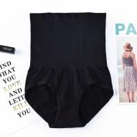Nylon Stretchable High Waist Belly Slim Underwear - Black