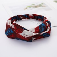 Girls Cross Wide Elastic Casual Feather Headband - Red Blue