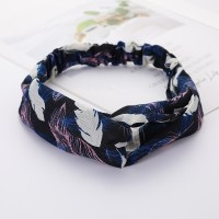 Girls Cross Wide Elastic Casual Feather Headband - Blue Pink