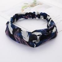 Girls Cross Wide Elastic Casual Feather Headband - Blue Pink