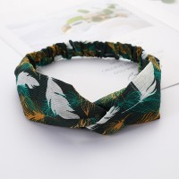 Girls Cross Wide Elastic Casual Feather Headband - Green