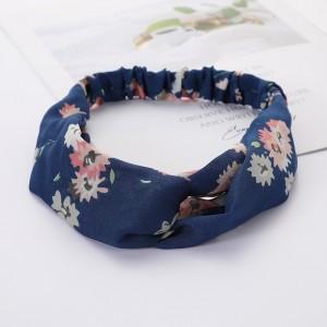 Girls Cross Wide Elastic Casual Floral Headband - Blue