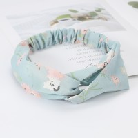 Girls Cross Wide Elastic Casual Floral Headband - Light Green