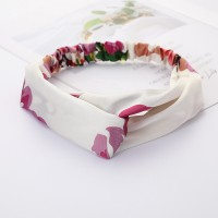 Girls Cross Wide Elastic Casual Floral Headband - Cream
