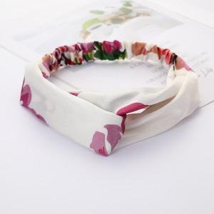 Girls Cross Wide Elastic Casual Floral Headband - Cream