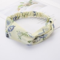 Girls Cross Wide Elastic Fashion Floral Headband - Light Yellow