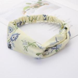 Girls Cross Wide Elastic Fashion Floral Headband - Light Yellow