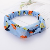 Girls Cross Wide Elastic Fashion Floral Headband - Sky Blue
