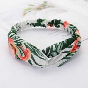 Girls Cross Wide Elastic Fashion Flamingo Headband - Green
