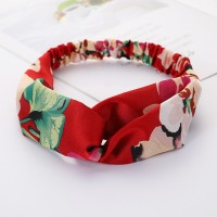 Girls Cross Wide Elastic Fashion Floral Headband - Red
