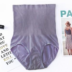 Nylon Stretchable High Waist Belly Slim Underwear - Purple