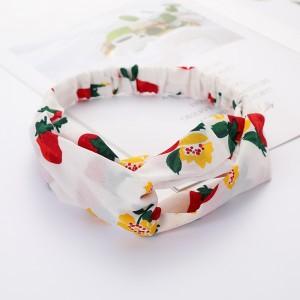 Girls Cross Wide Elastic Fashion Floral Headband - White