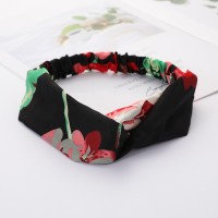 Girls Cross Wide Elastic Fashion Floral Headband - Black Red