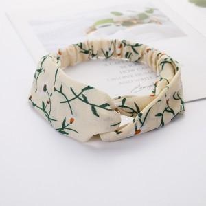 Girls Cross Wide Elastic Fashion Floral Headband - Beige