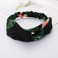 Girls Cross Wide Elastic Fashion Floral Headband - Black Green
