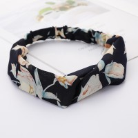 Girls Cross Wide Elastic Fashion Floral Headband - Black