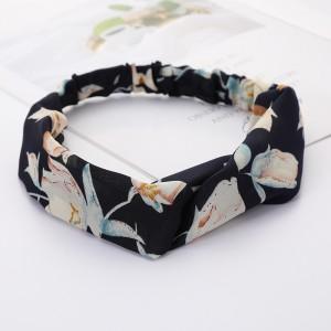 Girls Cross Wide Elastic Fashion Floral Headband - Black