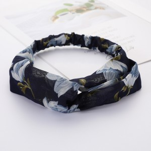 Girls Cross Wide Elastic Fashion Flower Headband - Navy Blue