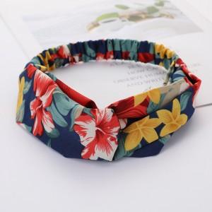 Girls Cross Wide Elastic Fashion Floral Headband - Multi Color
