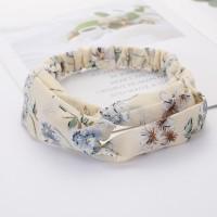 Ladies Cross Wide Elastic Fashion Floral Headband - Beige