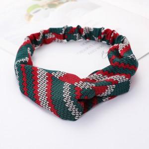Ladies Cross Wide Elastic Fashion Geometric Patterns Headband - Red Green