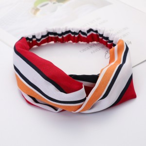 Ladies Cross Wide Elastic Fashion Striped Headband - Multi Color