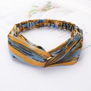 Ladies Cross Wide Elastic Fashion Striped Headband - Blue Yellow