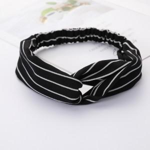 Ladies Cross Wide Elastic Fashion Striped Headband - Black And White