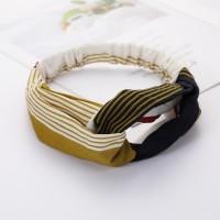 Ladies Cross Wide Elastic Fashion Striped Headband - Black Yellow