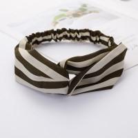 Ladies Cross Wide Elastic Fashion Striped Headband - White Green