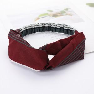 Ladies Cross Wide Elastic Fashion Striped Headband - Wine