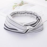 Ladies Cross Wide Elastic Fashion Striped Headband - White
