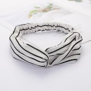 Ladies Cross Wide Elastic Fashion Striped Headband - Beige