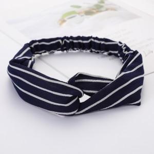 Ladies Cross Wide Elastic Fashion Striped Headband - Navy Blue