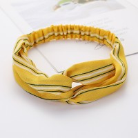 Ladies Cross Wide Elastic Fashion Striped Headband - Yellow