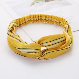 Ladies Cross Wide Elastic Fashion Striped Headband - Yellow