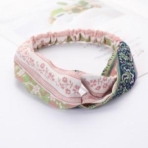 Ladies Cross Wide Elastic Fashion Headband - Pink White